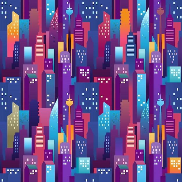 Stadtlandschaft nahtlose muster. moderne innenstadt mit farbwolkenkratzern Premium Vektoren