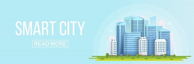 Stadtlandschaftsgebäude der intelligenten stadt. Premium Vektoren
