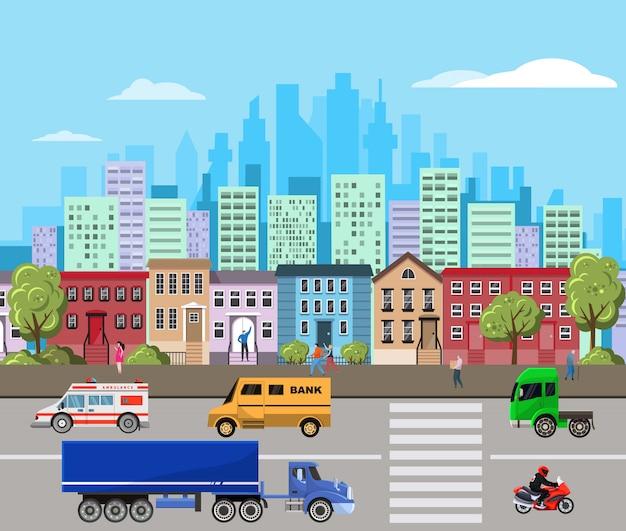 Stadtlandschaftsillustration mit modernen stadtwolkenkratzern und vorortgebäuden, urbanisierungskonzept. Premium Vektoren