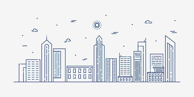Stadtlandschaftslinienkunst Premium Vektoren