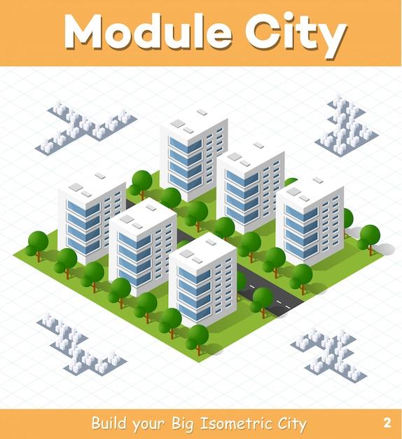 Stadtmodul für den bau und entwurf einer großen isometrischen stadt Premium Vektoren