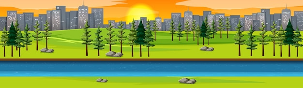 Stadtnaturpark mit flussseitenlandschaft bei sonnenuntergangsszene Kostenlosen Vektoren