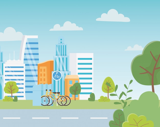 Stadtökologieparkfahrräder transportieren stadtbildstraßen-baumgras Premium Vektoren