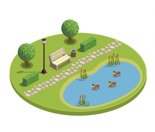 Stadtpark-erholungsgebiet rundes isometrisches element mit bankbäumen büschen teichpflanzen schilf entenküken illustration Kostenlosen Vektoren