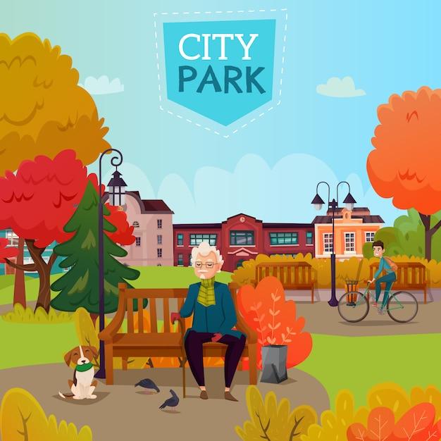 Stadtpark-illustration Kostenlosen Vektoren