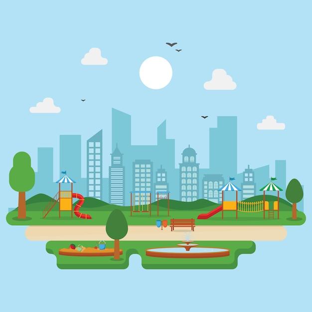 Stadtpark im sommer mit kinderspielplatz spielen Premium Vektoren