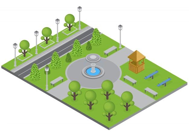 Stadtpark mit baumbrunnen und sportplatz isometrisch Kostenlosen Vektoren