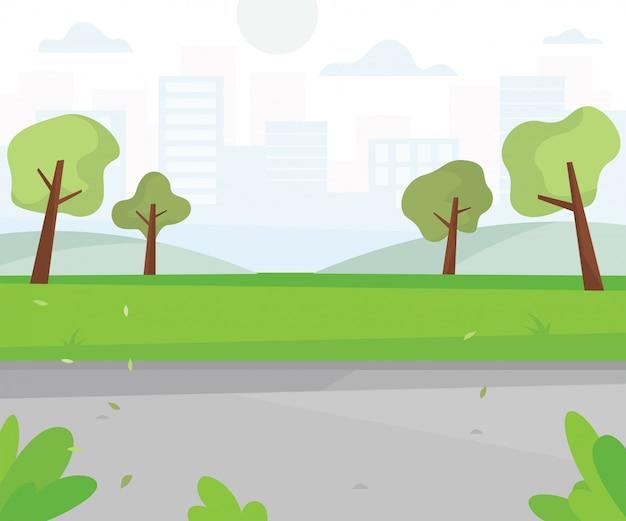 Stadtpark mit blick auf die stadt Premium Vektoren