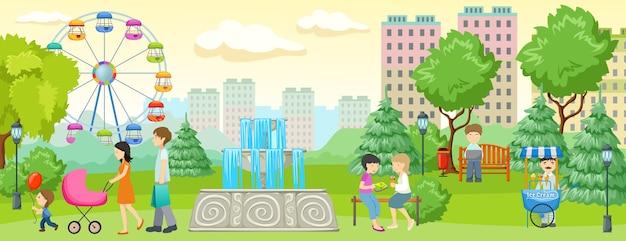 Stadtpark mit menschen banner menschen zu fuß und spaß im park neben wohngebäuden Kostenlosen Vektoren