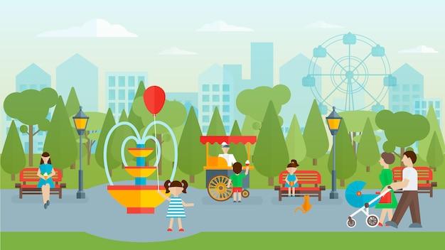 Stadtpark mit menschen flaches design Kostenlosen Vektoren