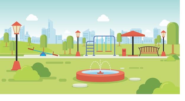 Stadtpark mit parkbänken und kinderspielplatz Premium Vektoren