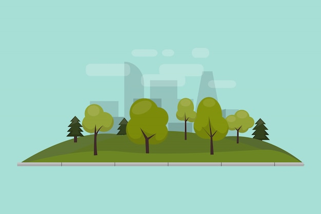 Stadtpark, rasen und bäume. illustration eines lokalisierten flachen stils. grüne parkanlage im stadtzentrum. Premium Vektoren
