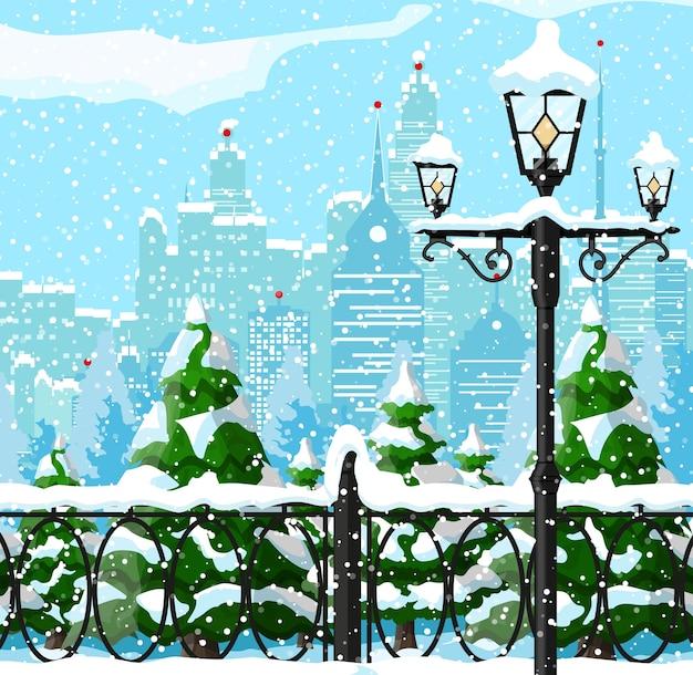 Stadtpark schneegasse und gebäude Premium Vektoren