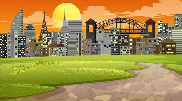 Stadtpark-sonnenuntergangszene oder -hintergrund Kostenlosen Vektoren