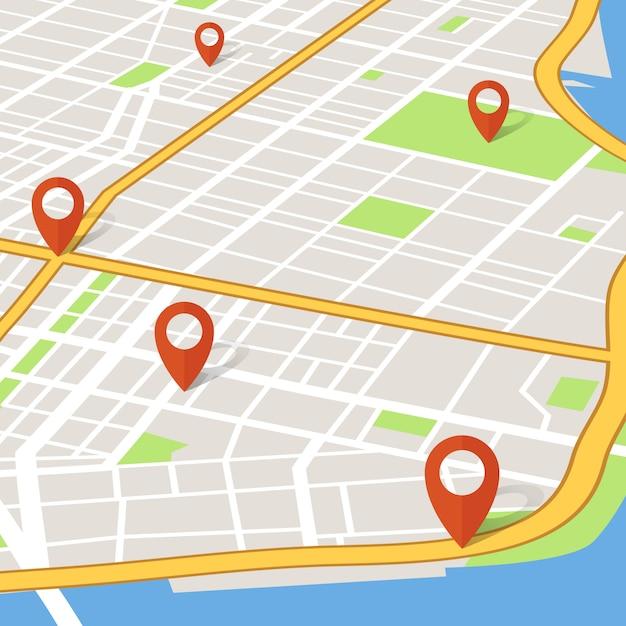 Stadtplan der perspektive 3d mit stiftzeigern. abstarct gps-navigationsvektorkonzept Premium Vektoren