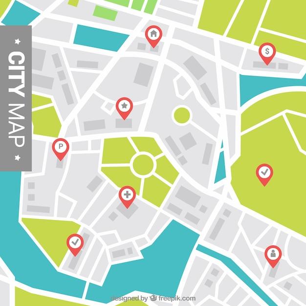 Stadtplan hintergrund mit zeigern Kostenlosen Vektoren