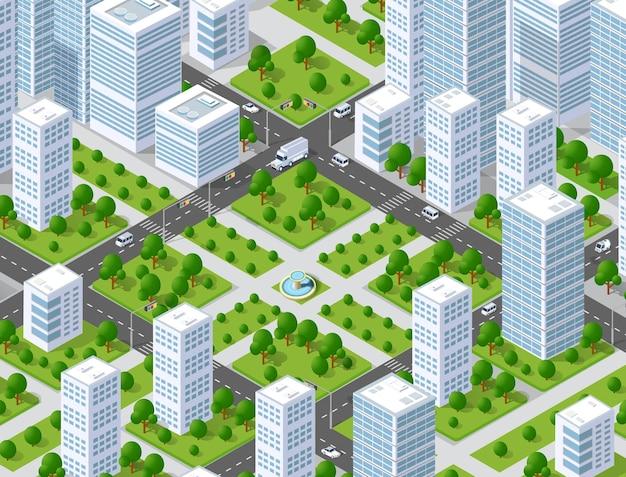 Stadtplan musterkarte. isometrische landschaftsstruktur von stadtgebäuden, wolkenkratzern, straßen und bäumen. Premium Vektoren