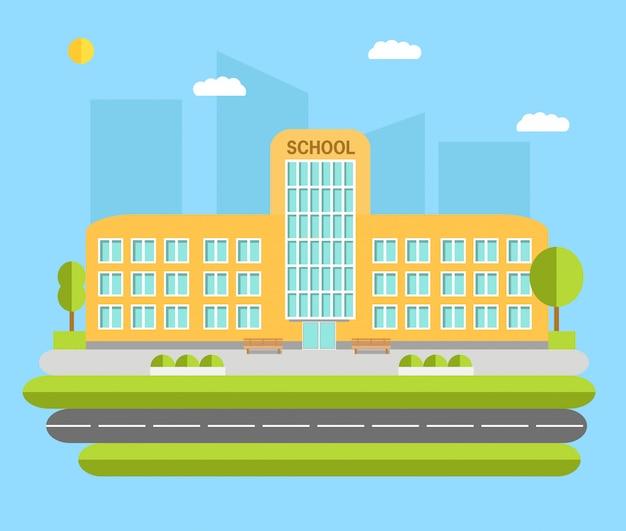 Stadtschulgebäude-konzeptillustration. Premium Vektoren