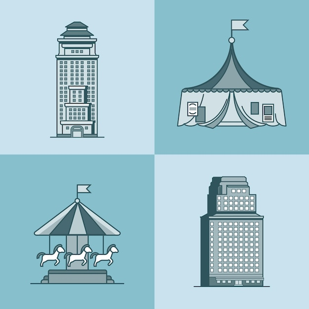 Stadtstadt wolkenkratzerhaus attraktionen park zirkus karussell architektur gebäude set Premium Vektoren
