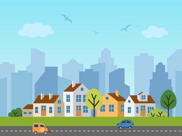 Stadtstadtlandschaft. panorama der hütten vor wolkenkratzern. vögel am himmel, autos auf der straße. Premium Vektoren