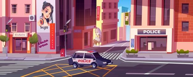 Stadtstraße mit polizeistation, auto und häusern Kostenlosen Vektoren