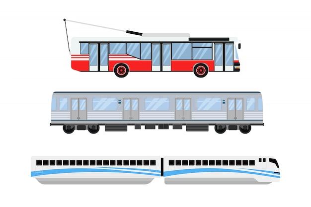 Stadtstraßenbahn und oberleitungsbus transportieren vektorillustration. Premium Vektoren
