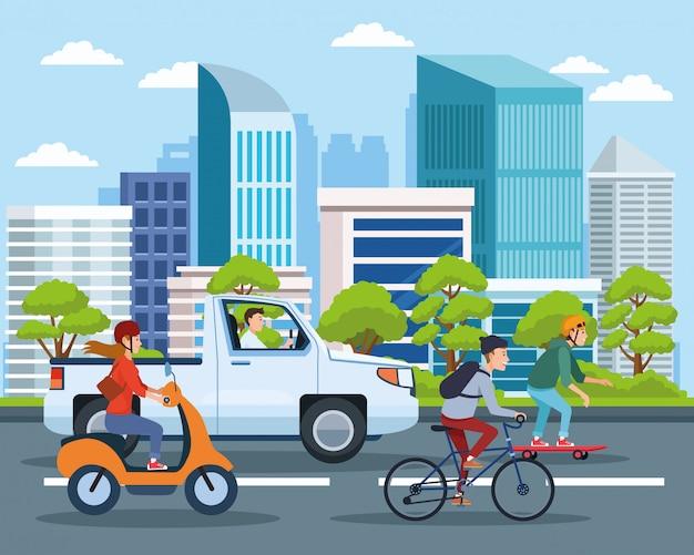 Stadttransport und mobilitätscartoons Premium Vektoren