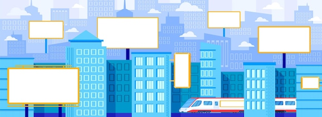 Stadtwerbung plakatillustration. Premium Vektoren
