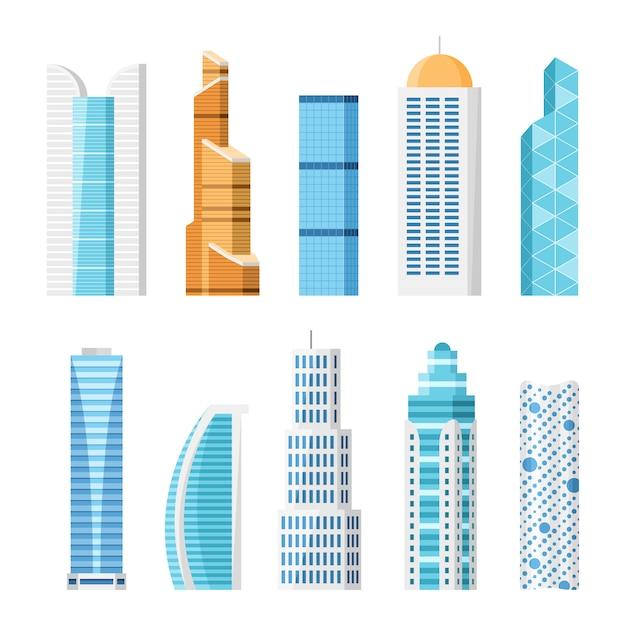 Stadtwolkenkratzer, lokalisierter karikatursatz Premium Vektoren