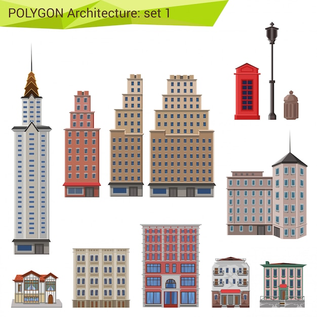 Stadtwolkenkratzer und gebäude, polygonaler artarchitektursatz. Kostenlosen Vektoren