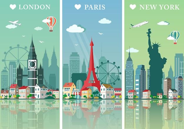 Städte skylines gesetzt. landschaften illustration. london, paris und new york silhouetten mit sehenswürdigkeiten. Premium Vektoren