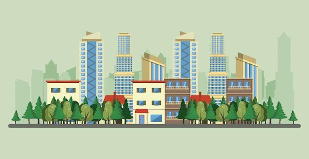 Städtische gebäude mit stadtbildlandschaft Kostenlosen Vektoren