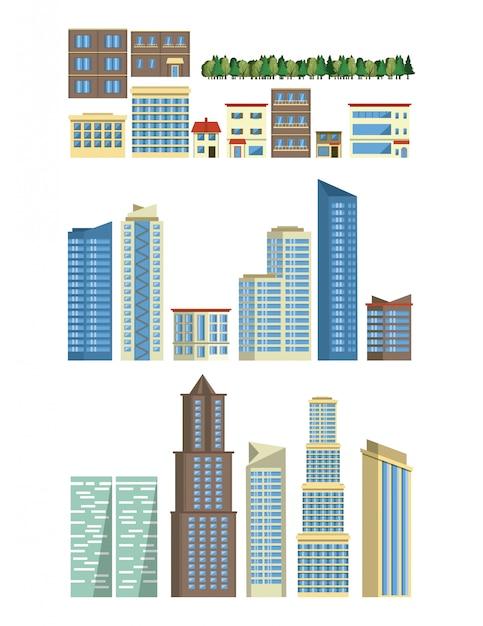 Städtische gebäude und wolkenkratzer stellten von den ikonen ein Kostenlosen Vektoren