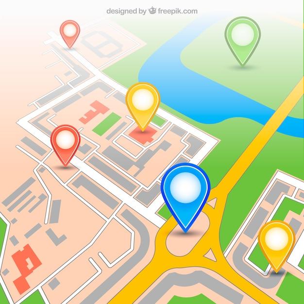 Städtische gps-karte mit pins Premium Vektoren