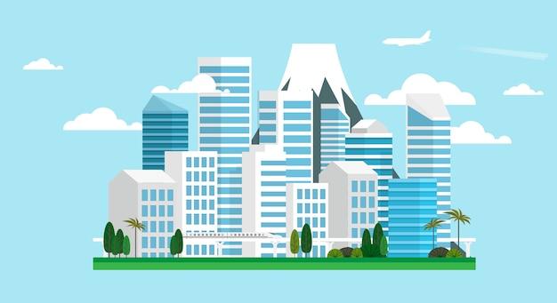 Städtische großstadtlandschaft Premium Vektoren