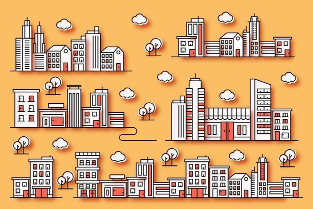 Städtische illustrationen mit verschiedenen formen von gebäuden im stil von papier mit bäumen Premium Vektoren