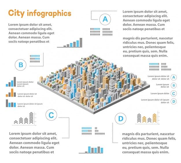 Städtische infografiken mit isometrischer stadt Premium Vektoren