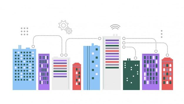 Städtische landschaft. smart city-konzept. Premium Vektoren