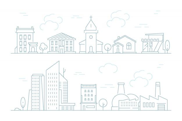 Städtische lineare stadtbild gesetzt Premium Vektoren