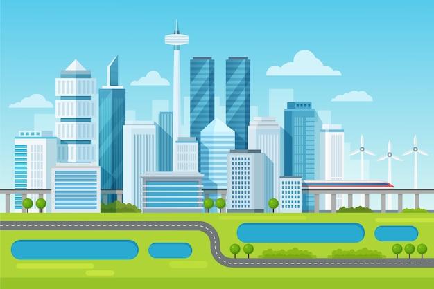 Städtische moderne stadtbildlandschaft mit hohen wolkenkratzern und u-bahn-illustration Premium Vektoren