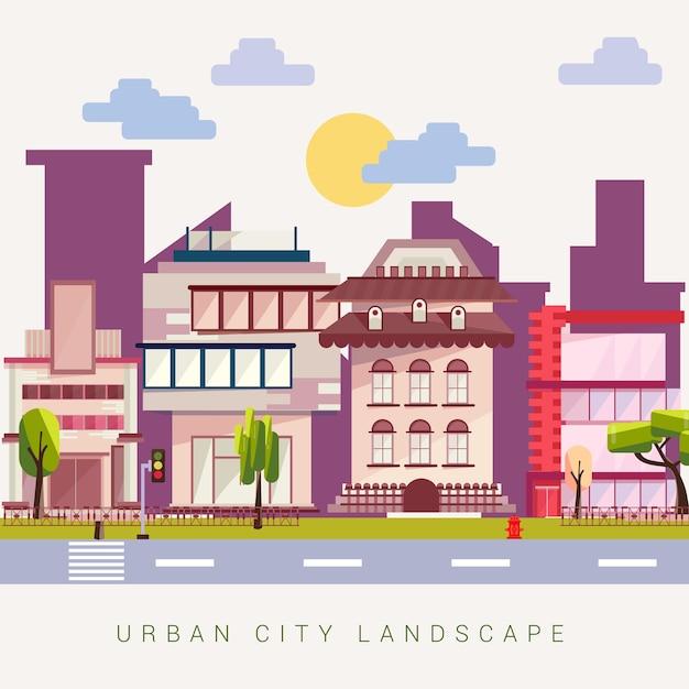 Städtische stadtgebäude-landschaftsvektorillustration Premium Vektoren