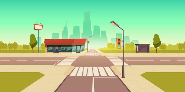 Städtische straßenillustration Kostenlosen Vektoren