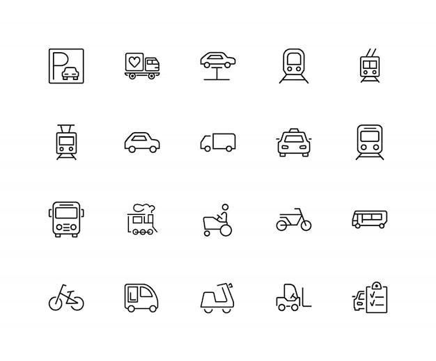 Städtische transportikonen. satz von zwanzig linie ikonen. straßenbahn, fahrrad, parkplatz. Premium Vektoren