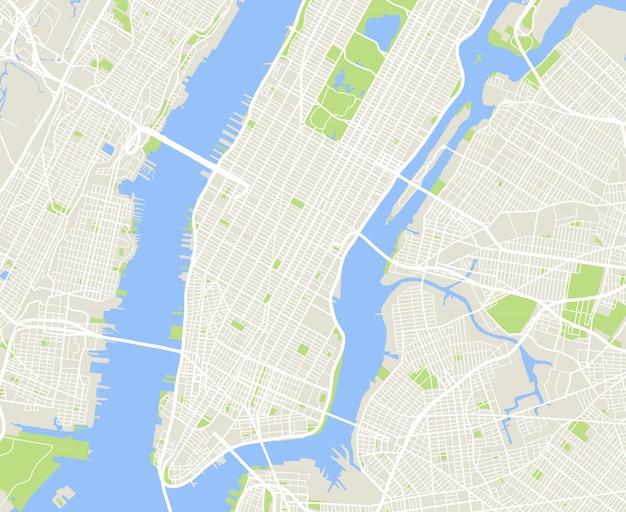 Städtische vektorkarte von new york und manhattan Premium Vektoren