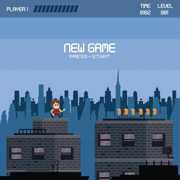 Städtische videospiellandschaft mit pixel Premium Vektoren