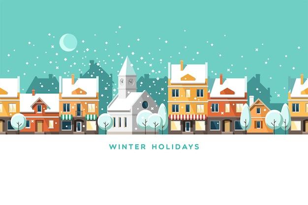 Städtische winterlandschaft. schneebedeckte straße. weihnachtskarte frohes feiertagsbanner. Premium Vektoren