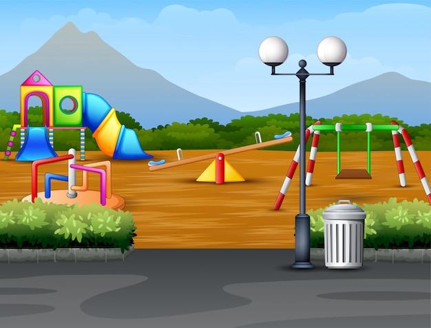 Städtischer park der karikatur scherzt spielplatz im naturhintergrund Premium Vektoren