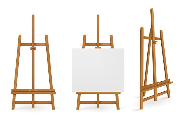 Staffeleien aus holz oder kunsttafeln mit weißer leinwand vorne und von der seite Kostenlosen Vektoren