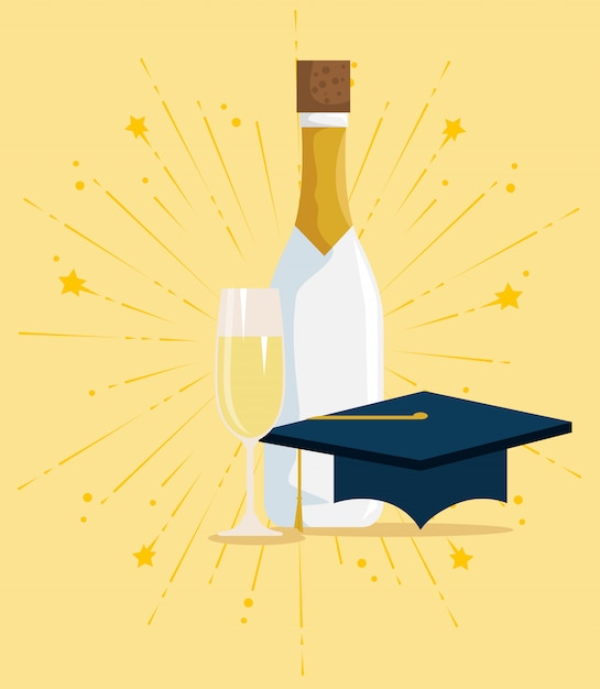 Staffelungskappe mit champagner zur glücklichen feier Kostenlosen Vektoren
