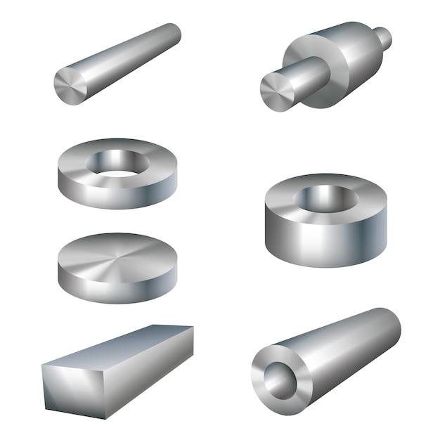 Stahlerzeugnisse metallteile Premium Vektoren